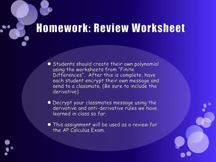 Homework: Review Worksheet