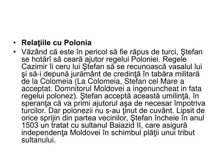 Relaţiile cu Polonia