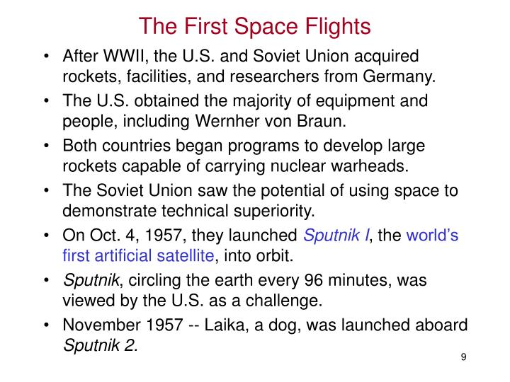 The First Space Flights