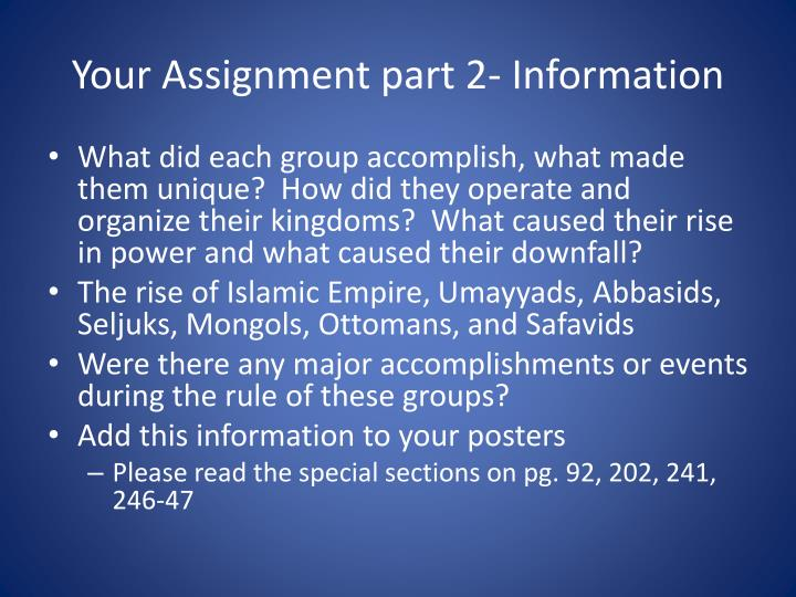 Your Assignment part 2- Information