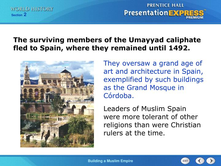 The surviving members of the Umayyad caliphate fled to Spain, where they remained until 1492.