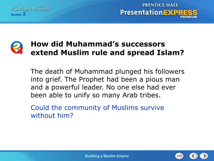 How did Muhammad's successors extend Muslim rule and spread Islam?