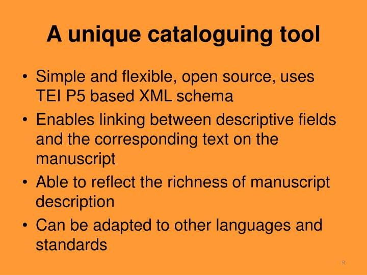 A unique cataloguing tool