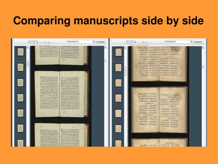 Comparing manuscripts side by side