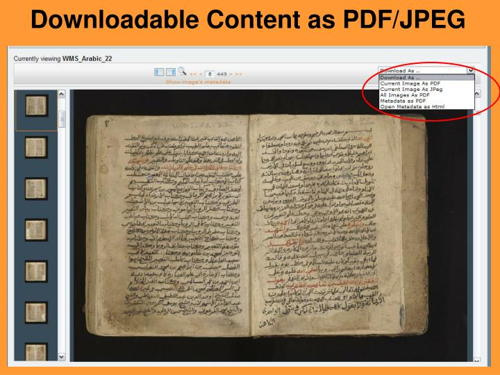 Downloadable Content as PDF/JPEG