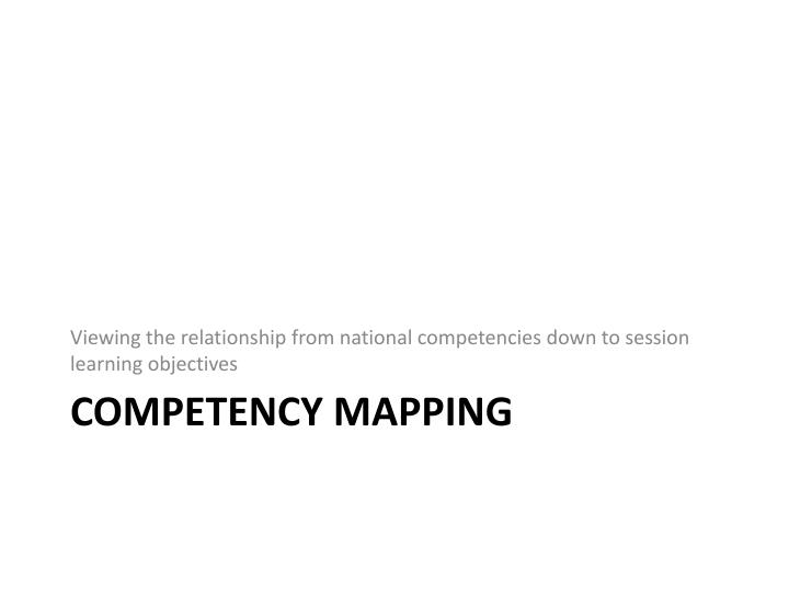 Viewing the relationship from national competencies down to session learning objectives