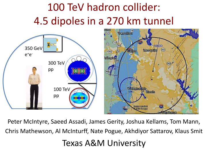 100 tev hadron collider 4 5 dipoles in a 270 km tunnel