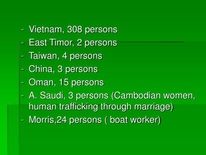 Vietnam, 308 persons
