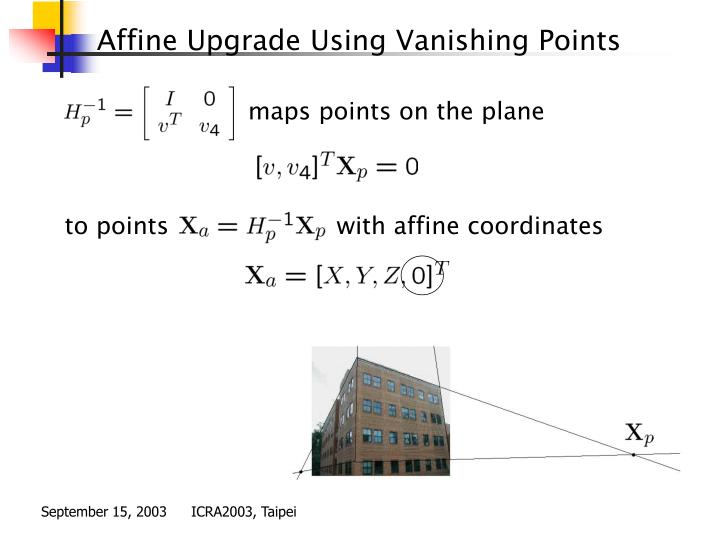 Affine Upgrade Using Vanishing Points