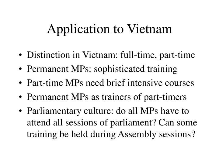 Application to Vietnam