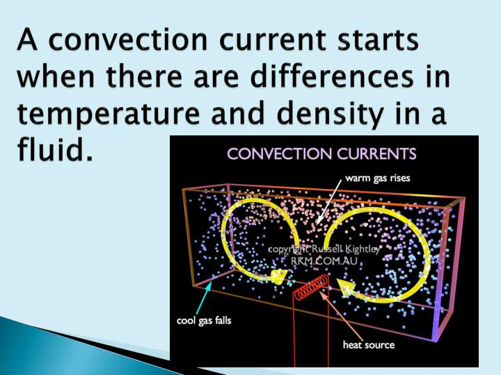 A convection current starts when there are differences in temperature and density in a fluid.