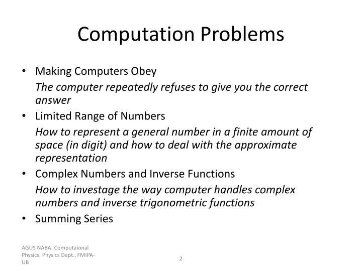 Computation Problems