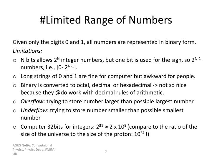 #Limited Range of Numbers