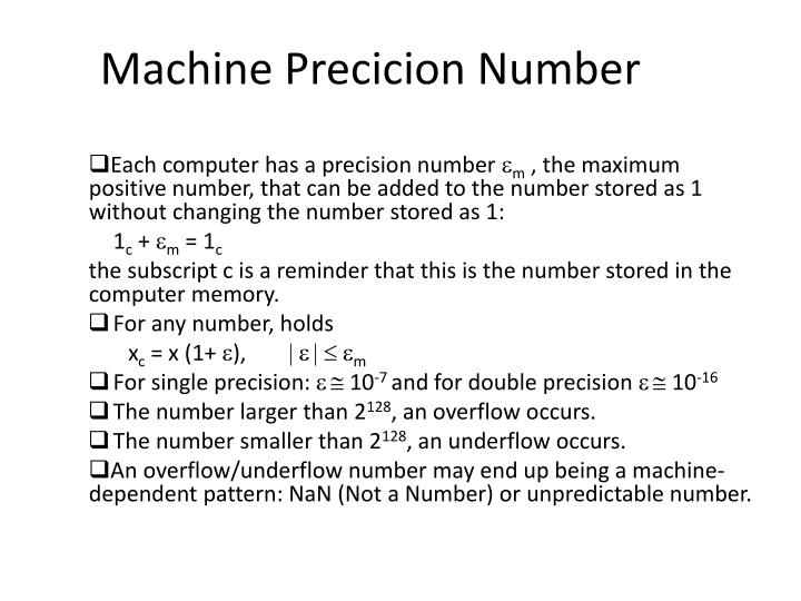 Machine Precicion Number