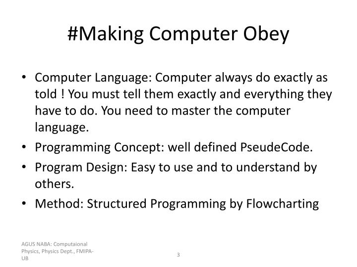 Making computer obey