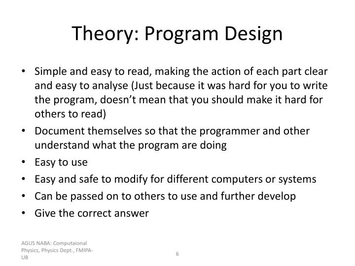 Theory: Program Design