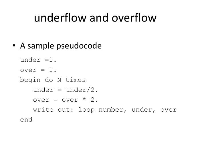 underflow and overflow