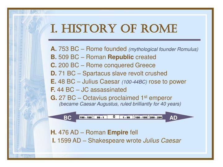 I. History of Rome