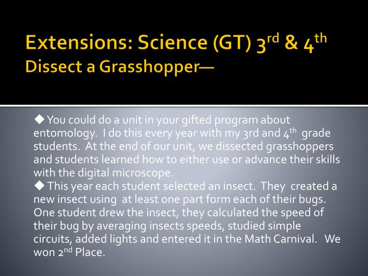 Extensions: Science (GT) 3