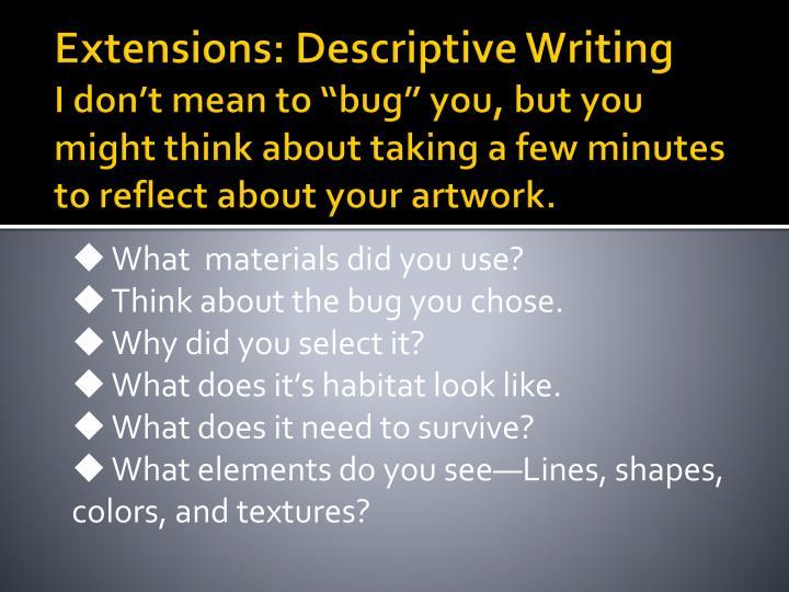 Extensions: Descriptive Writing