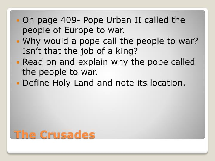 explain why pope urban ii called In 1094 or 1095, alexios i komnenos, the byzantine emperor, sent to the pope,  urban ii, and asked for aid from the west against the seljuq turks, who taken.