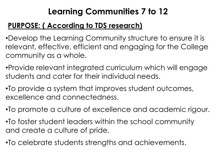 Learning Communities 7 to 12