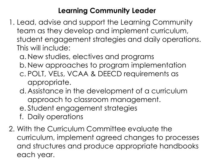 Learning Community Leader