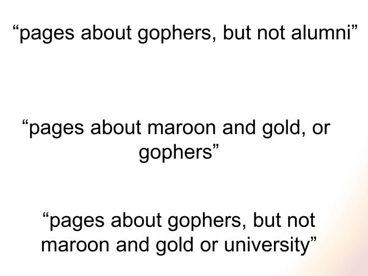 """pages about gophers, but not alumni"""
