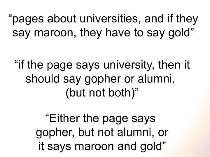 """pages about universities, and if they"