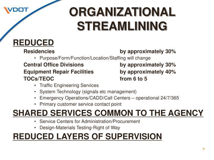 ORGANIZATIONAL STREAMLINING