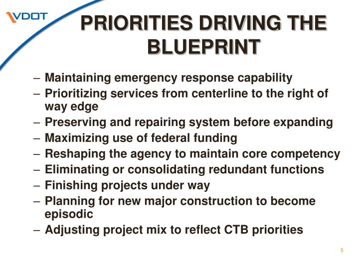 PRIORITIES DRIVING THE BLUEPRINT