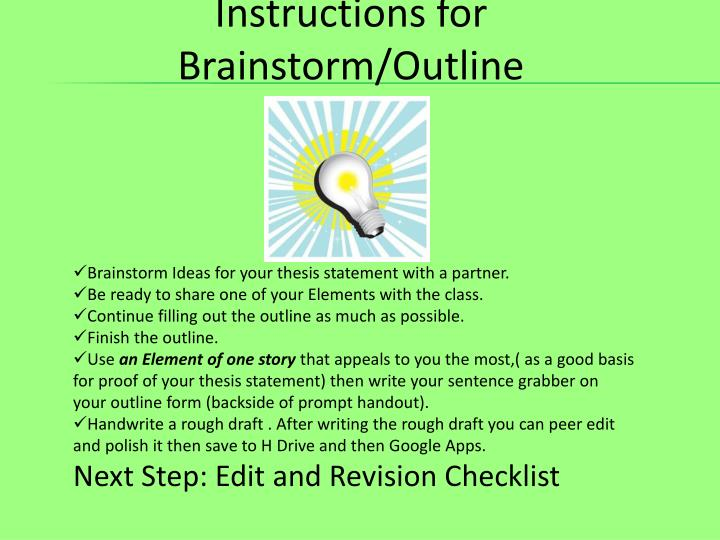 Instructions for Brainstorm/Outline