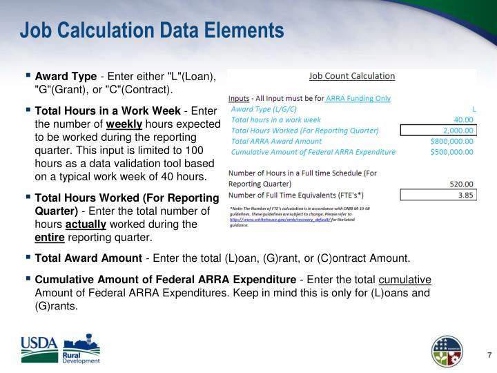 Job Calculation Data Elements