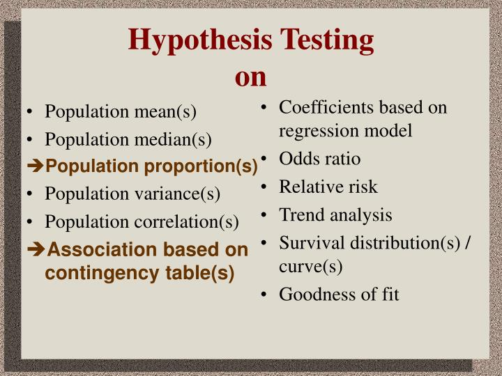 Hypothesis testing on