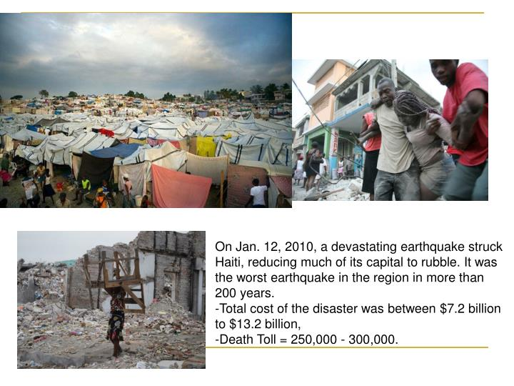 On Jan. 12, 2010, a devastating earthquake struck Haiti, reducing much of its capital to rubble. It was the worst earthquake in the region in more than 200 years.