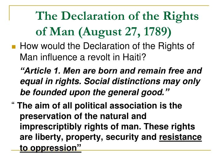 The Declaration of the Rights of Man (August 27, 1789)