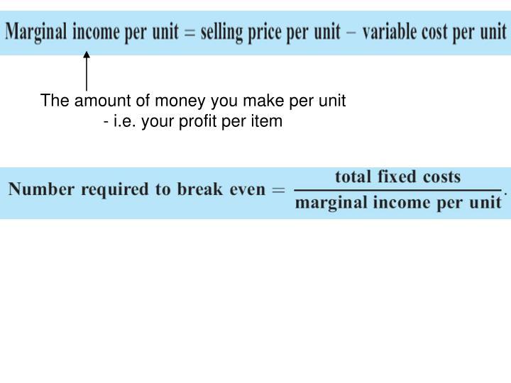 The amount of money you make per unit - i.e. your profit per item
