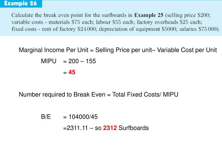 Marginal Income Per Unit = Selling Price per unit– Variable Cost per Unit
