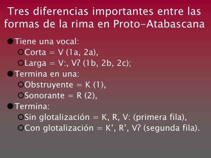 Tres diferencias importantes entre las formas de la rima en Proto-Atabascana