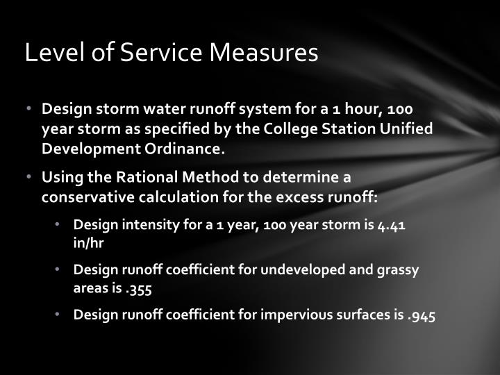 Level of service measures