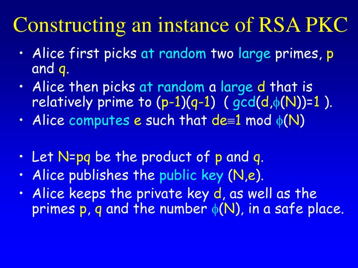 Constructing an instance of RSA PKC