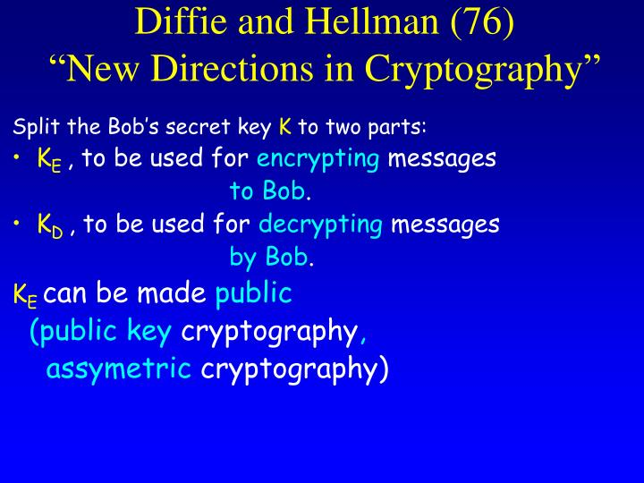 Diffie and hellman 76 new directions in cryptography