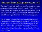 excerpts from rsa paper cacm 1978