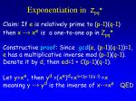 exponentiation in z pq1
