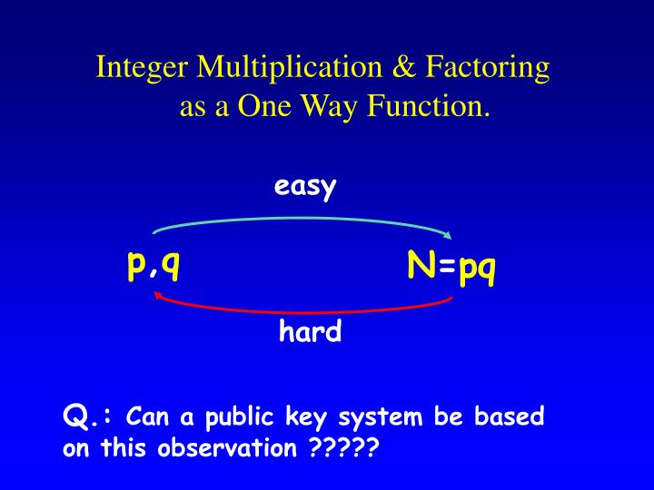 Integer multiplication factoring as a one way function