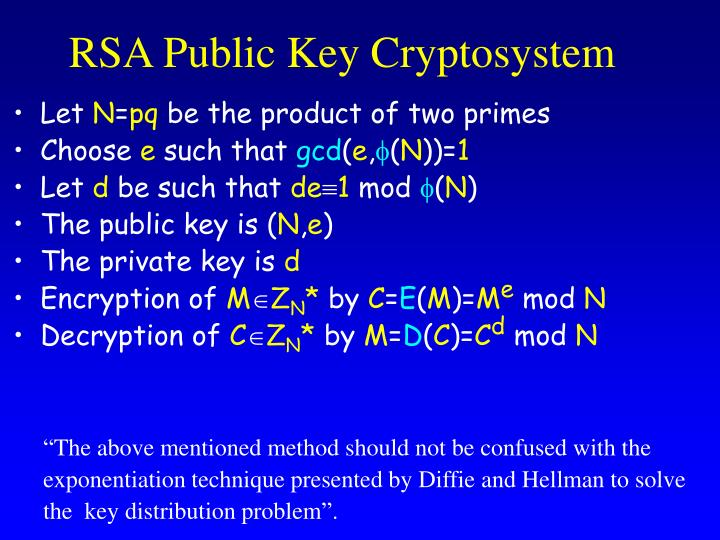 RSA Public Key Cryptosystem