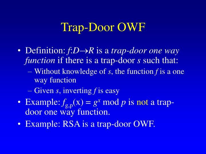 Trap-Door OWF