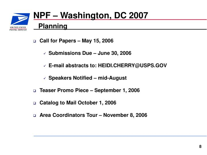 NPF – Washington, DC 2007