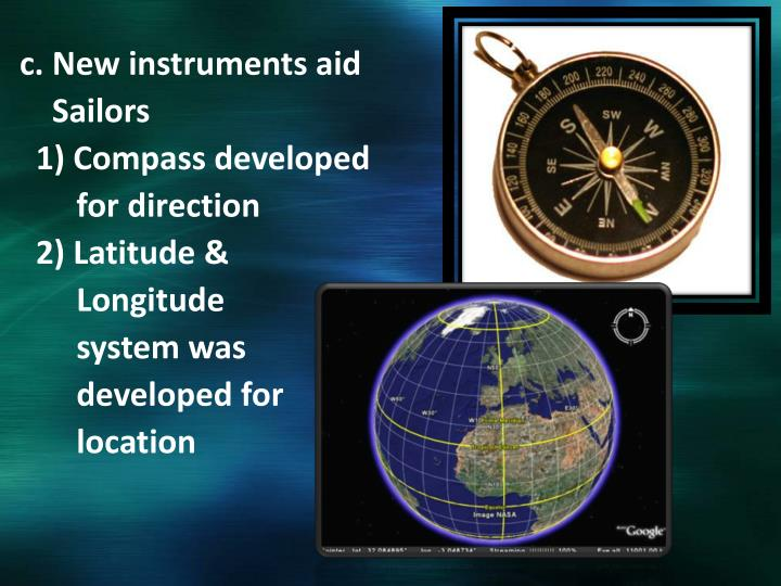 c. New instruments aid