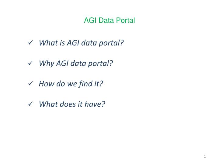 What is AGI data portal?